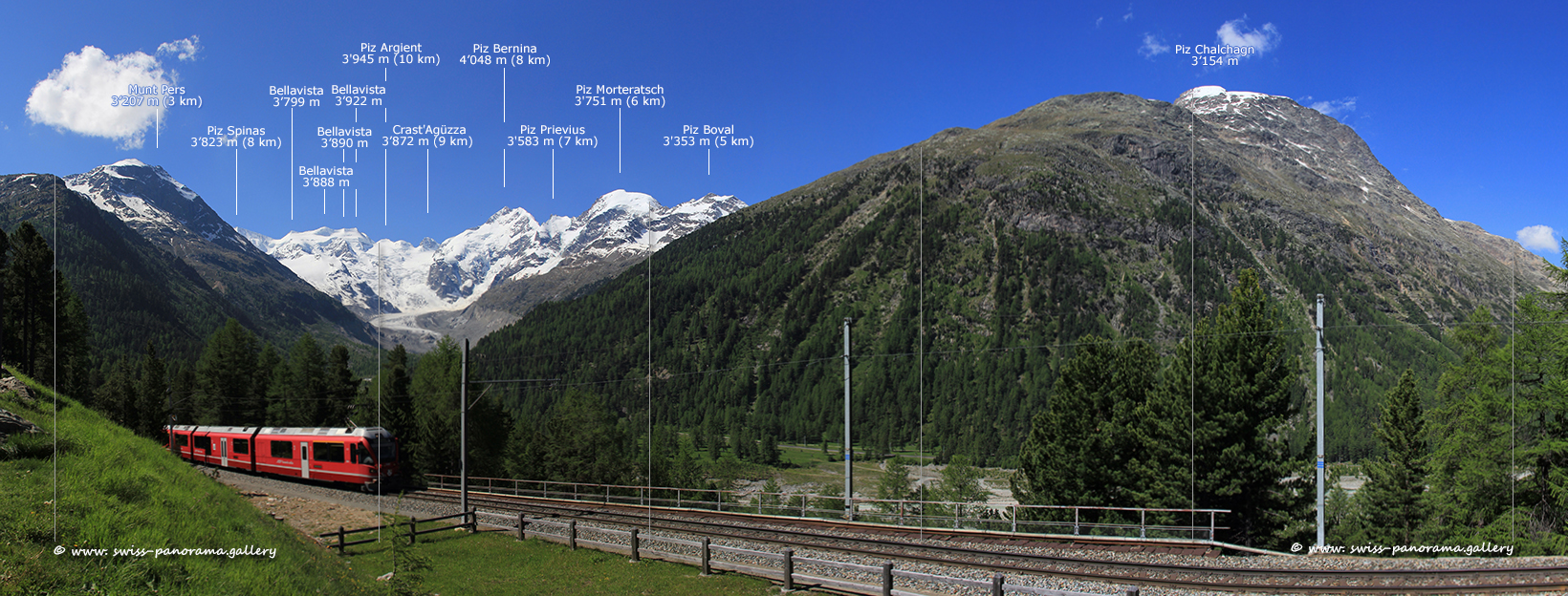 Switzerland Bernina Pass panorama Morteratsch